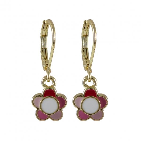 DLF Pink Multi Enamel 9mm Flower Dangling, On Gold Plated Brass Lever Back Earrings W18