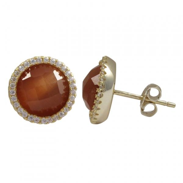 DLF Carnelian Cats Eye Semi Precious Faceted Stone With Border, Gold Plated Sterling Silver, 11.5mm Round Circle Post Stud Carnelian/Gold Earrings