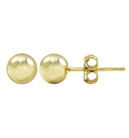 DLF Gold Plated Sterling Silver 6mm Ball, Post Stud Gold Earrings