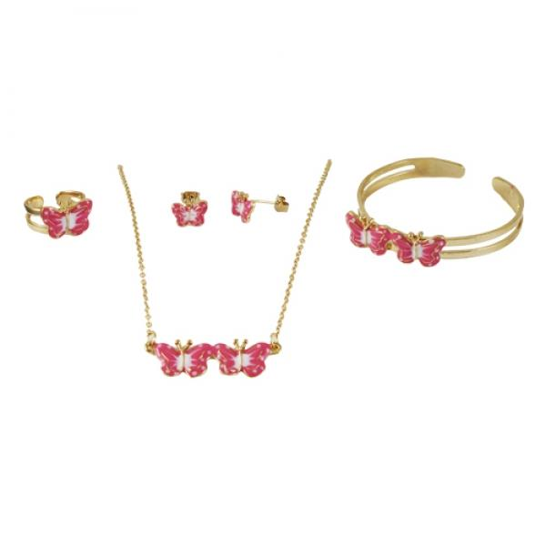 DLF Gold Tone Brass Bangle, Necklace, Ring & Earring Childrens Set With Pink (Rose) Enamel Butterflies