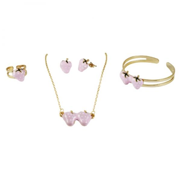 DLF Brass Pink Enamel Strawberry Set