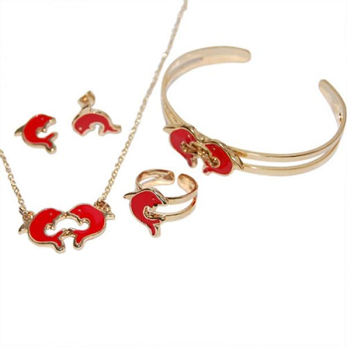 DLF Red & Gold Brass Dolphin, Necklace, Bracelet & Earrings Set