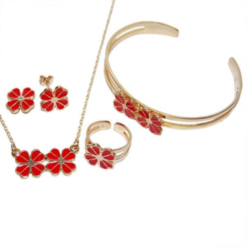 DLF Red & Gold Brass 4 Leaf Clover, Necklace, Bracelet & Earrings Set