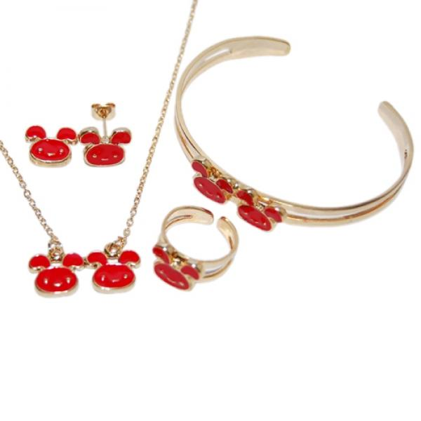 DLF Red & Gold Brass Bunny, Necklace, Braclete and Earrings Set