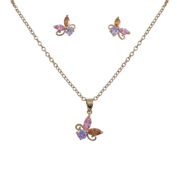 DLF Multi Colored Crystal, Rose Gold Post Earings & Pendant Set Brass