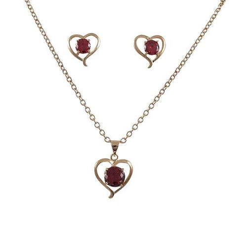 DLF Rose Gold Heart Post Earing And Pendant Set With Red Crystal, Brass
