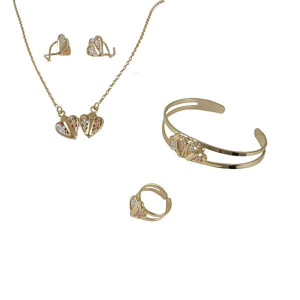 DLF Gold Colored Brass Bangle, Necklace, Ring & Earing Set WIth Tri Heart