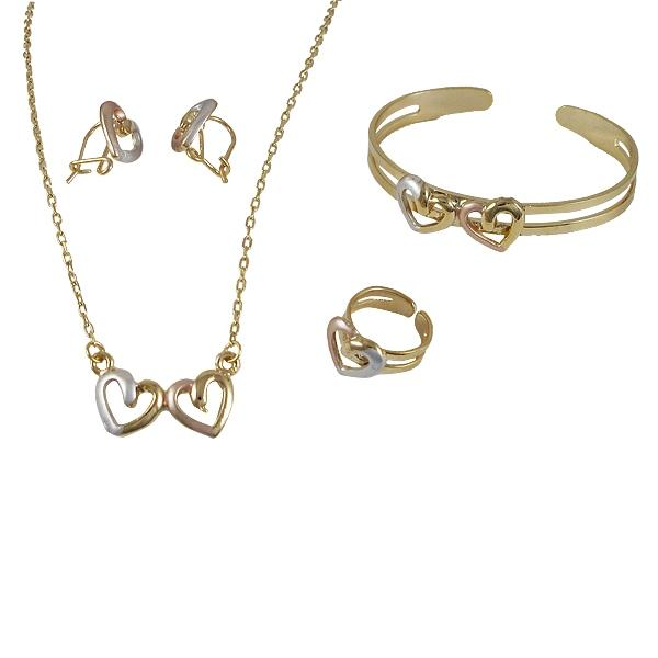 DLF Gold Colored Brass Bangle, Necklace, Ring & Earing Set WIth Tri Color Heart