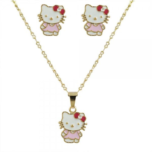 DLF Multi Color Kitty Enamel & Gold Plated Brass - Post Earrings And Necklace Set