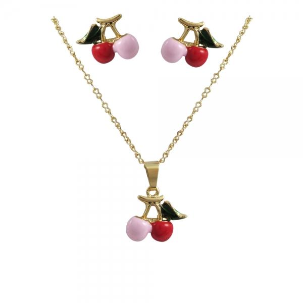 DLF Pink/Red Enamel & Gold Plated Brass Cherry - Post Earrings And Necklace Set