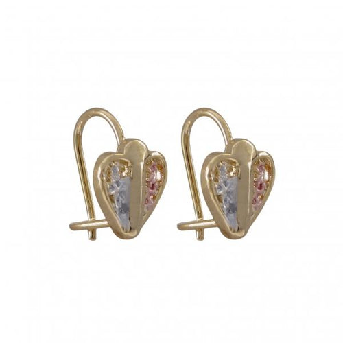 DLF Pink & White Filagree Heart, Gold Tone Brass Wire Earrings W18