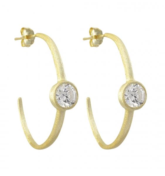 DLF Gold Plated Sterling Silver, White Hoop Post Earrings