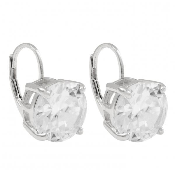 DLF Rhodium Plated Sterling Silver, 10mm Round, Lever Back Silver/White Earrings