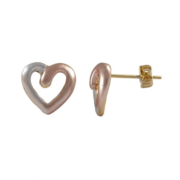 DLF Tri Color Heart, Gold Tone Brass Post Silver/Rose Gold Earrings W18