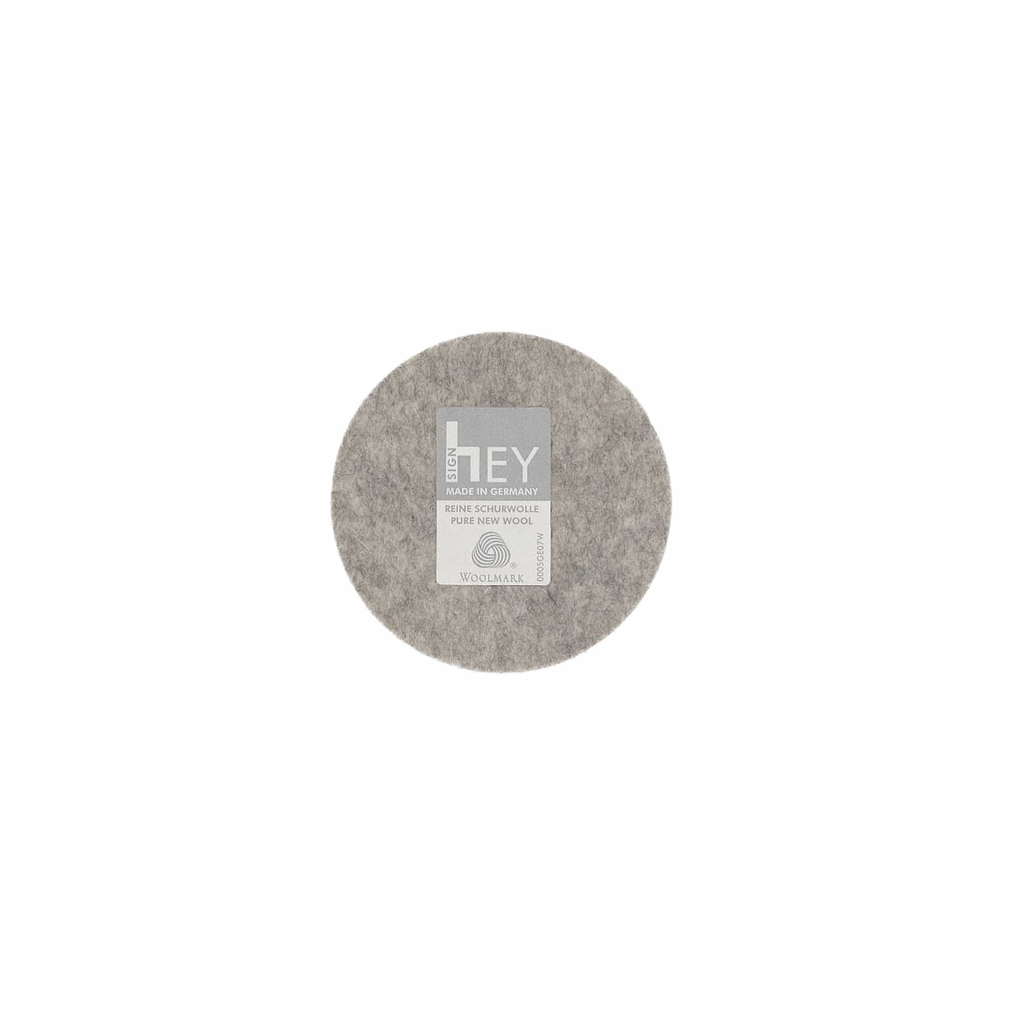 Round Felt Coaster in Light-Grey by Hey-Sign 300150907 looking at Back