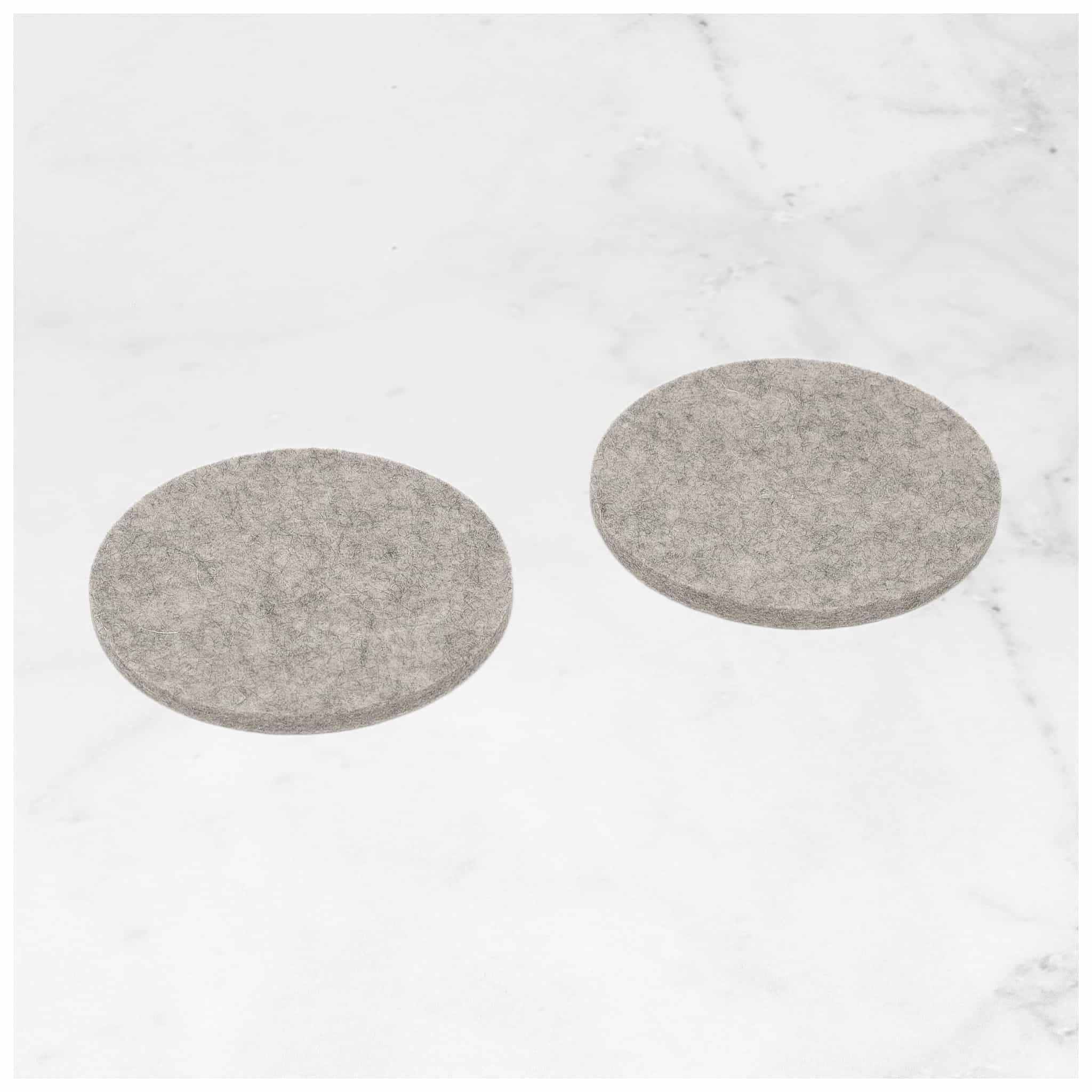 Round Felt Coaster in Light-Grey by Hey-Sign 300150907 looking at Front-Angle