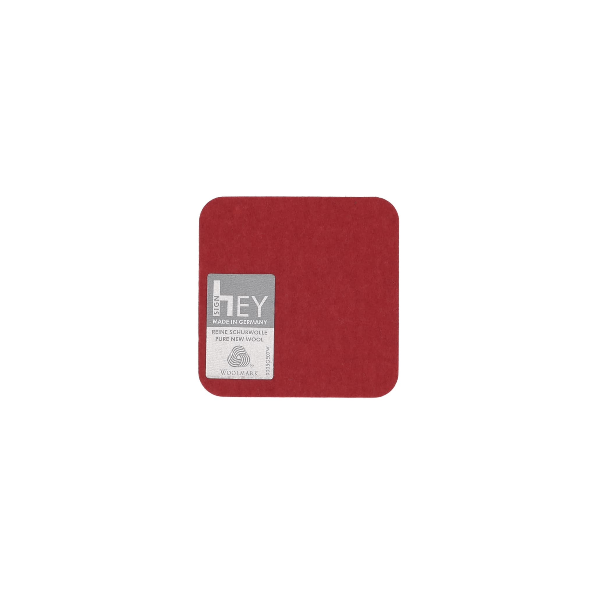Square Felt Coaster in Red by Hey-Sign 300160902 looking at Back