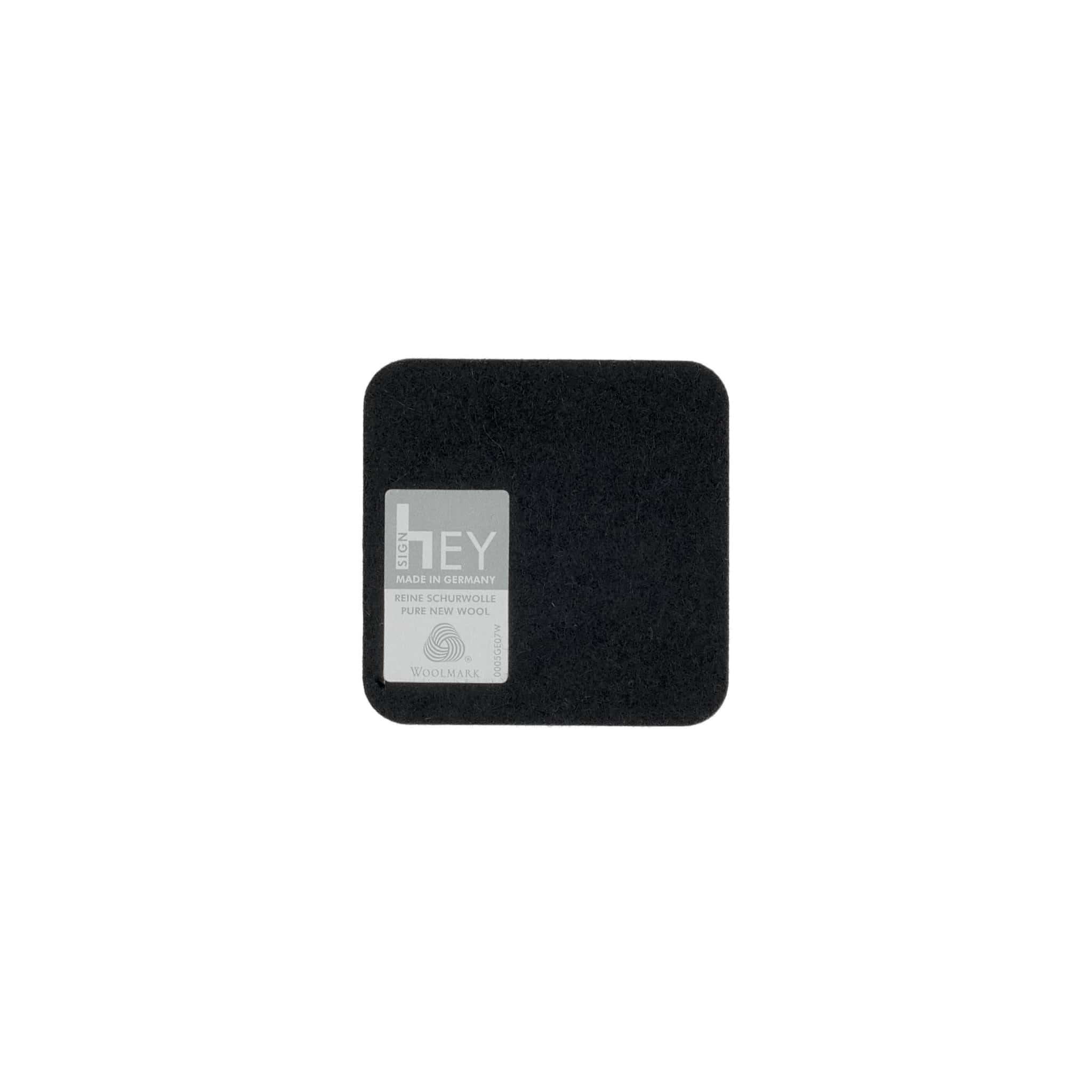 Square Felt Coaster in Black by Hey-Sign 300160902 looking at Back