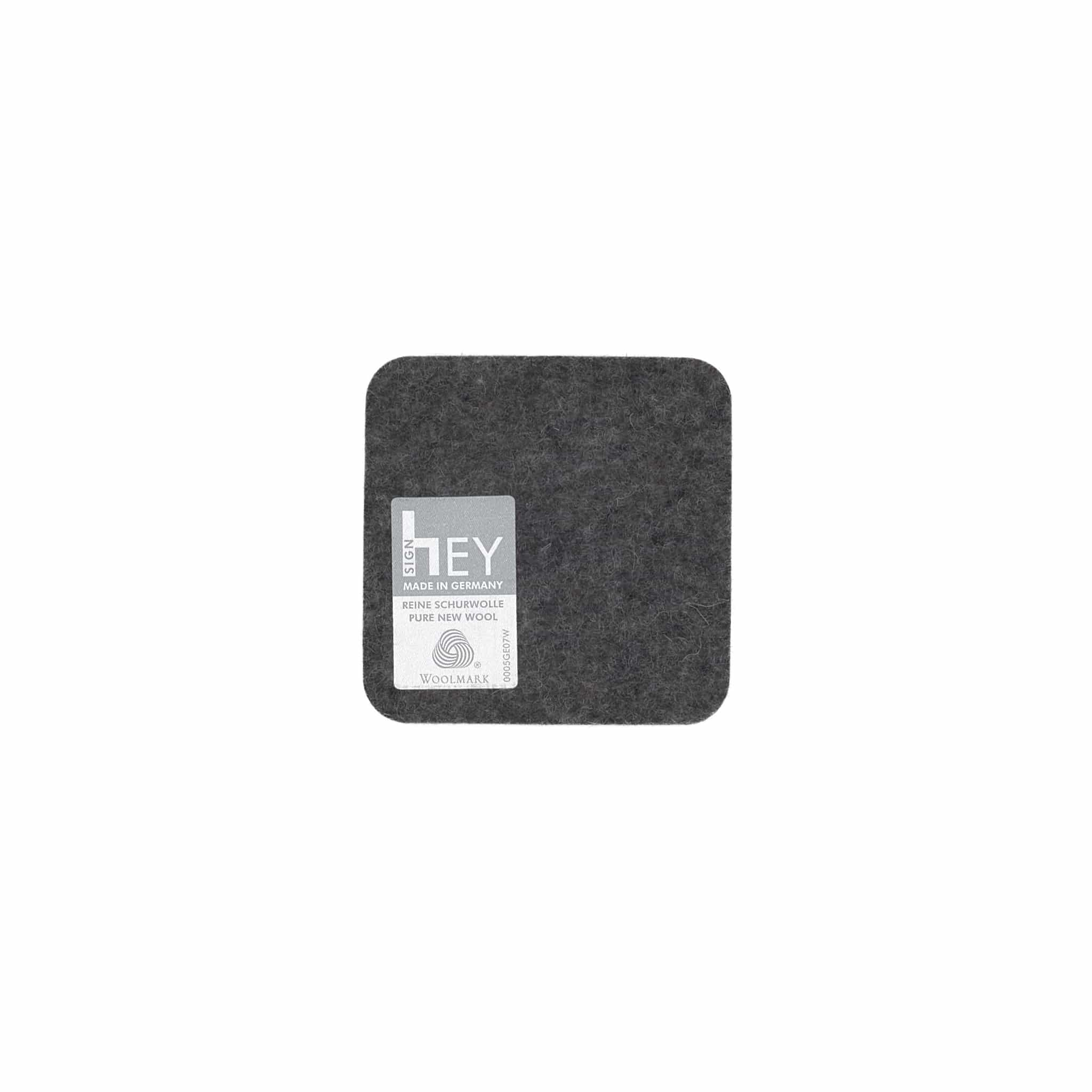 Square Felt Coaster in Charcoal by Hey-Sign 300160901 looking at Back