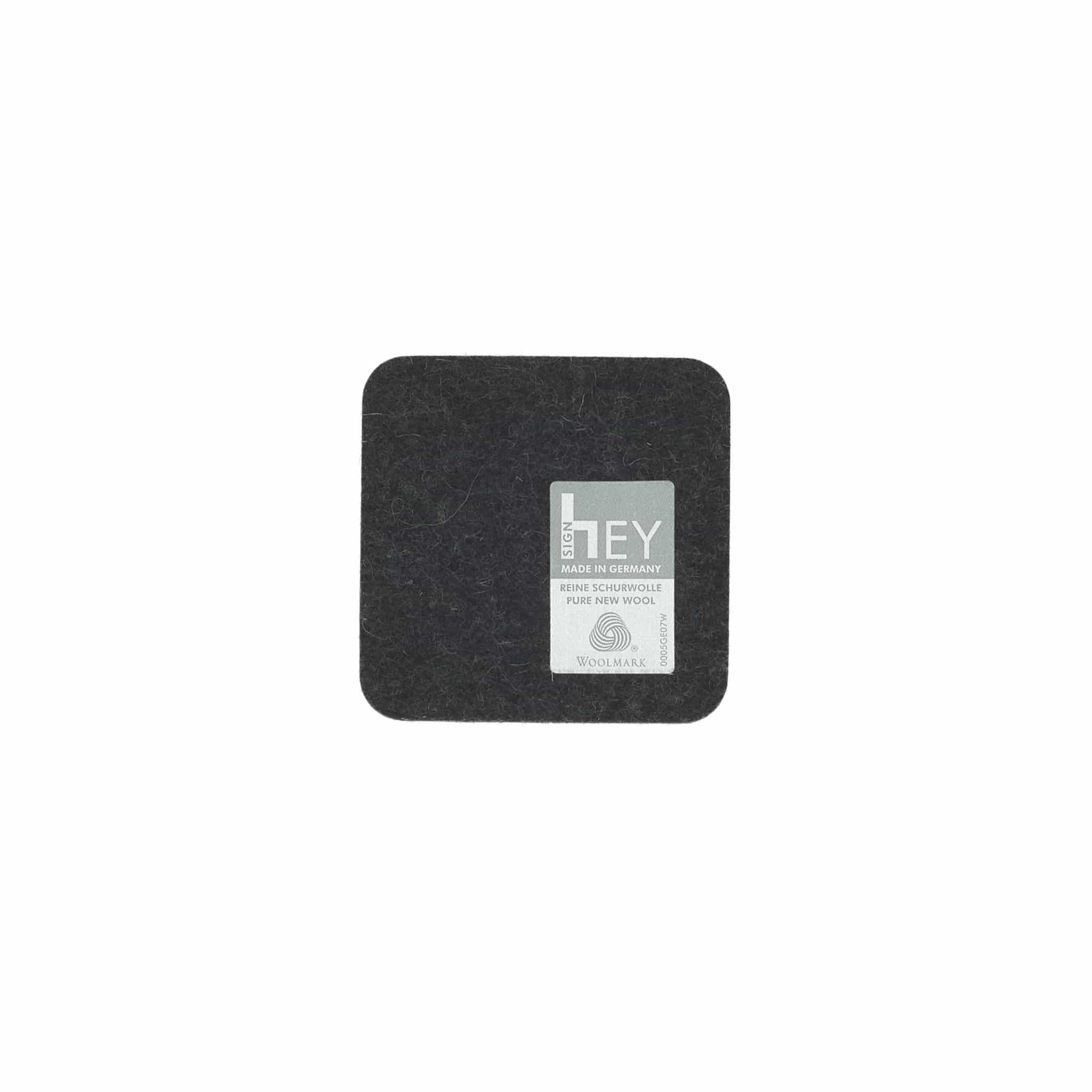 Square Felt Coaster in Graphite by Hey-Sign 300160908 looking at Front