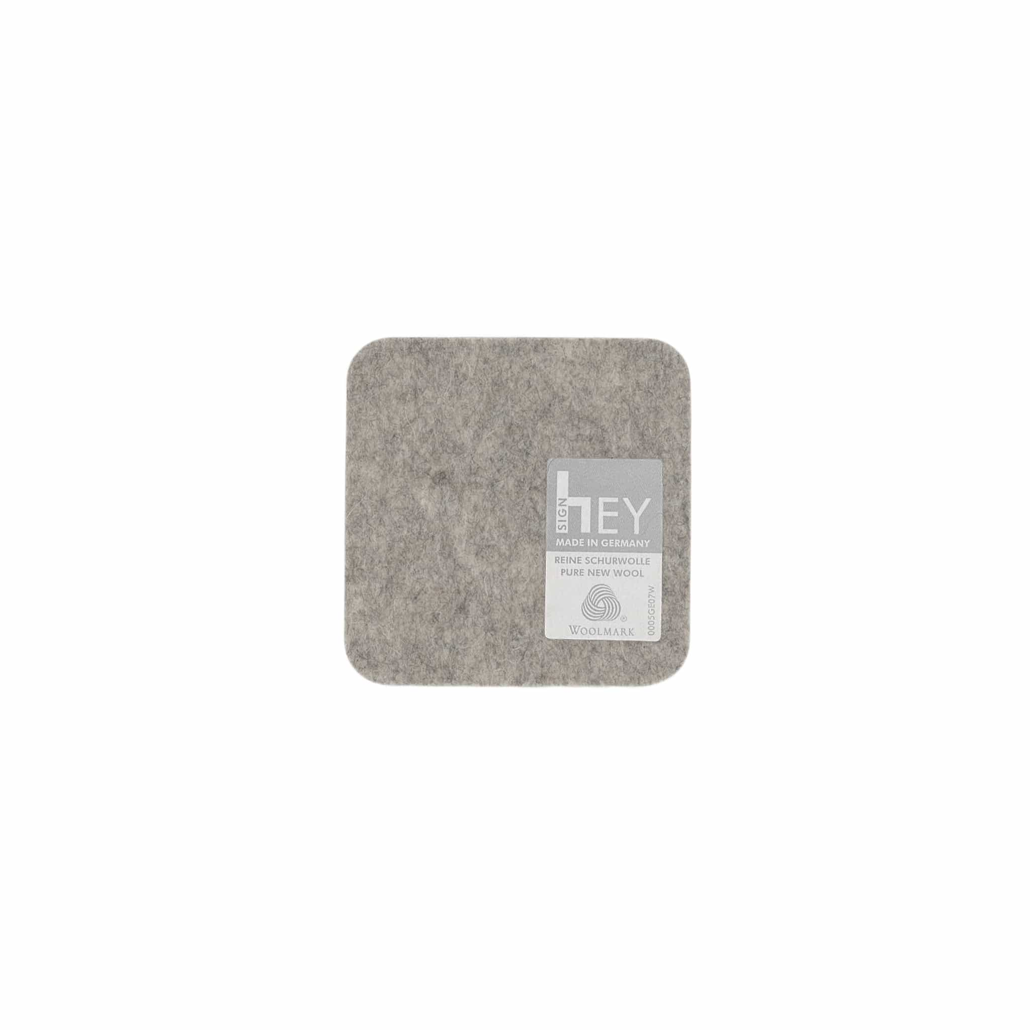 Square Felt Coaster in Light-Grey by Hey-Sign 300160907 looking at Back