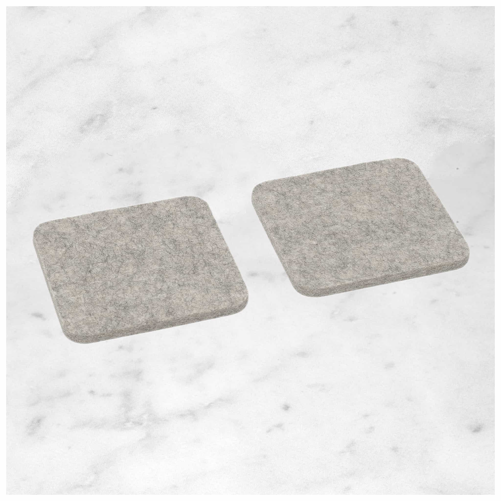 Square Felt Coaster in Light-Grey by Hey-Sign 300160907 looking at Front-Angle