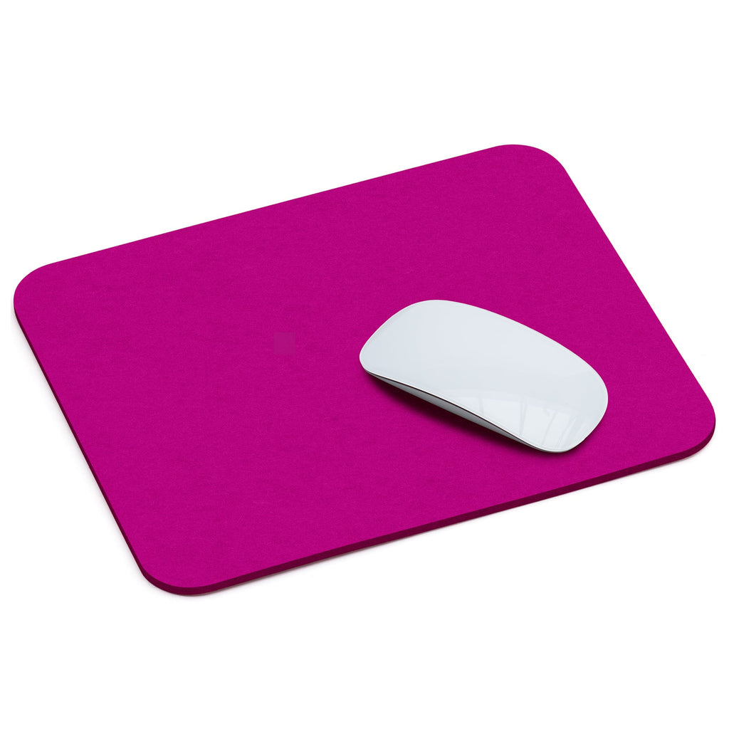 Rectangular Felt Mousepad in Pink by Hey-Sign 305302332 looking at Front-Angle-Wide