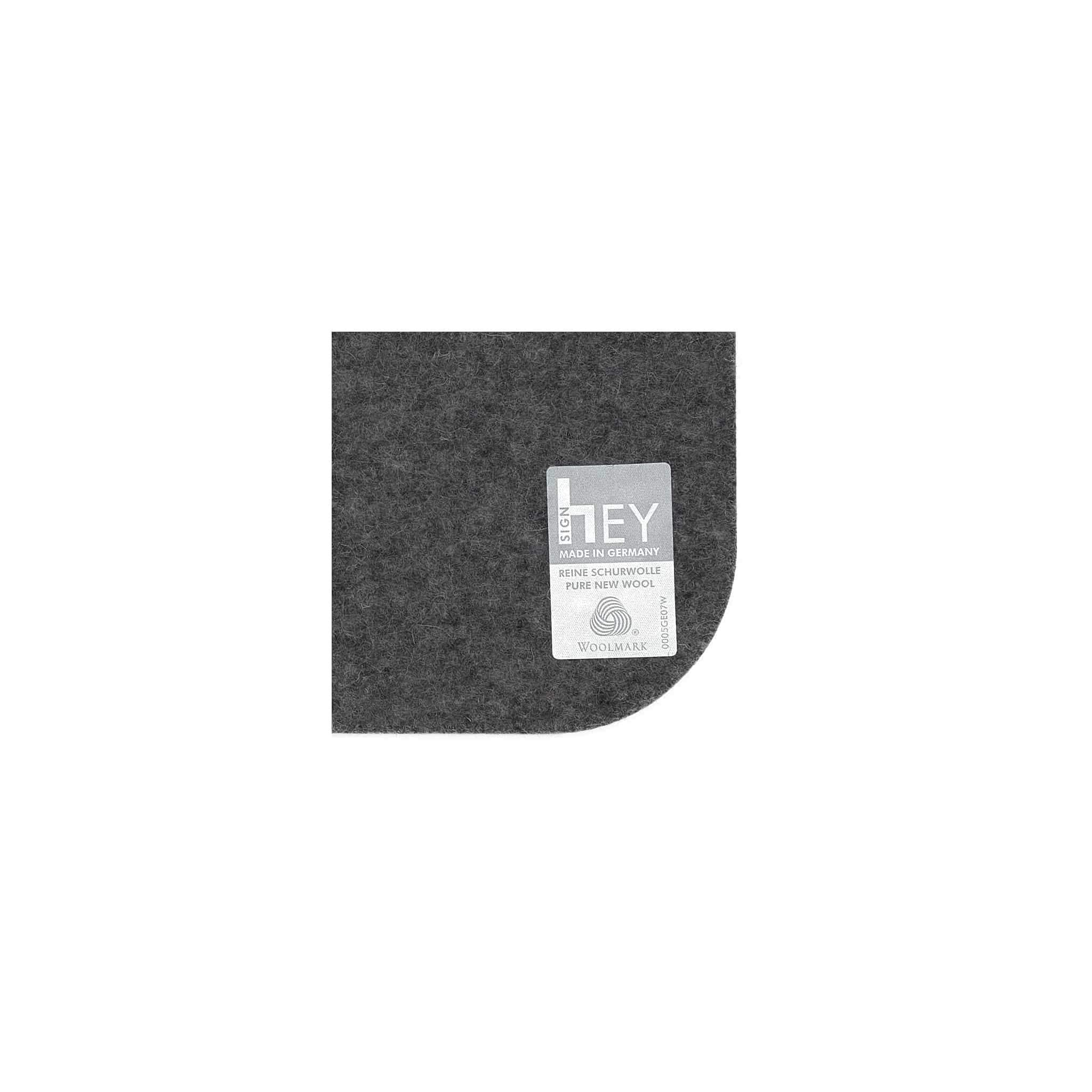 Rectangular Felt Placemat in Charcoal by Hey-Sign 300134501 looking at Closeup-Label