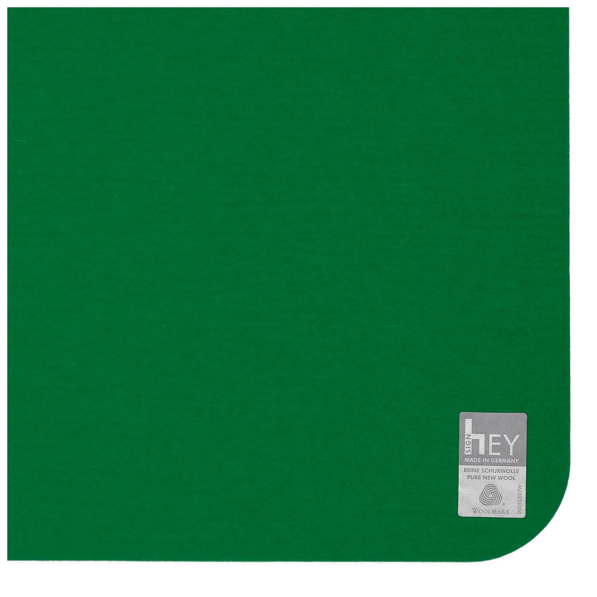 Rectangular Felt Placemat in Dark-Green by Hey-Sign 300134502 looking at Closeup-Label