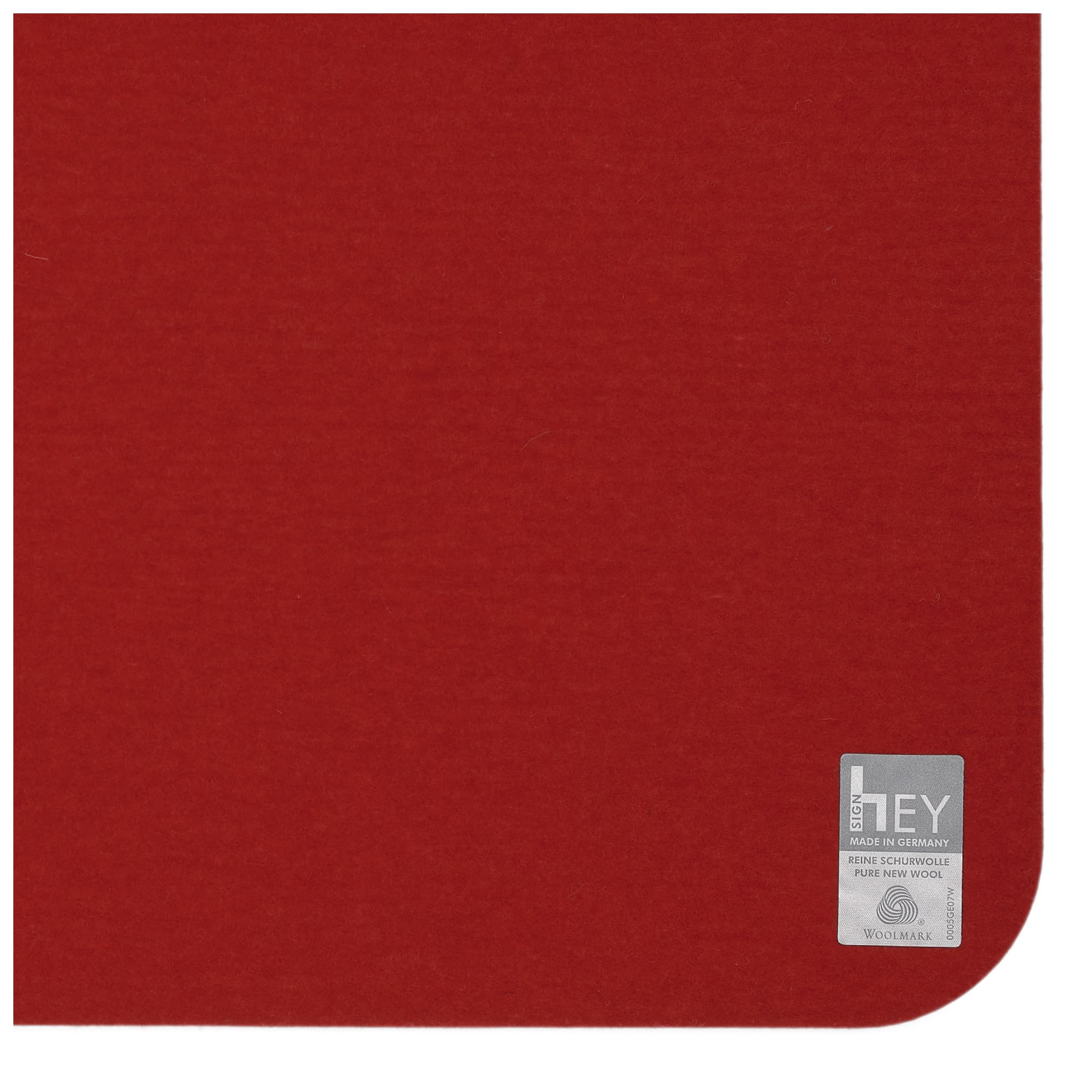 Rectangular Felt Placemat in Red by Hey-Sign 300134502 looking at Closeup-Label