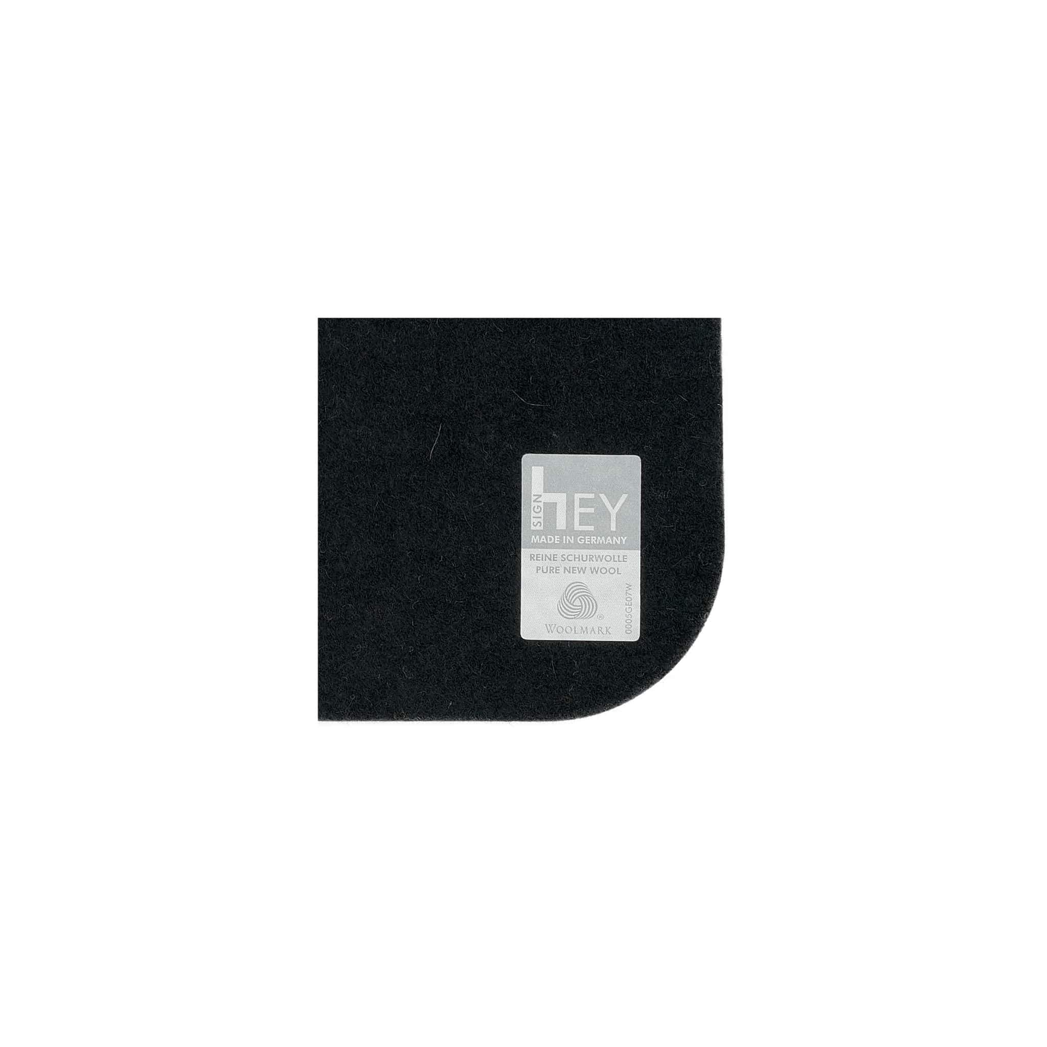 Rectangular Felt Placemat in Black by Hey-Sign 300134502 looking at Closeup-Label