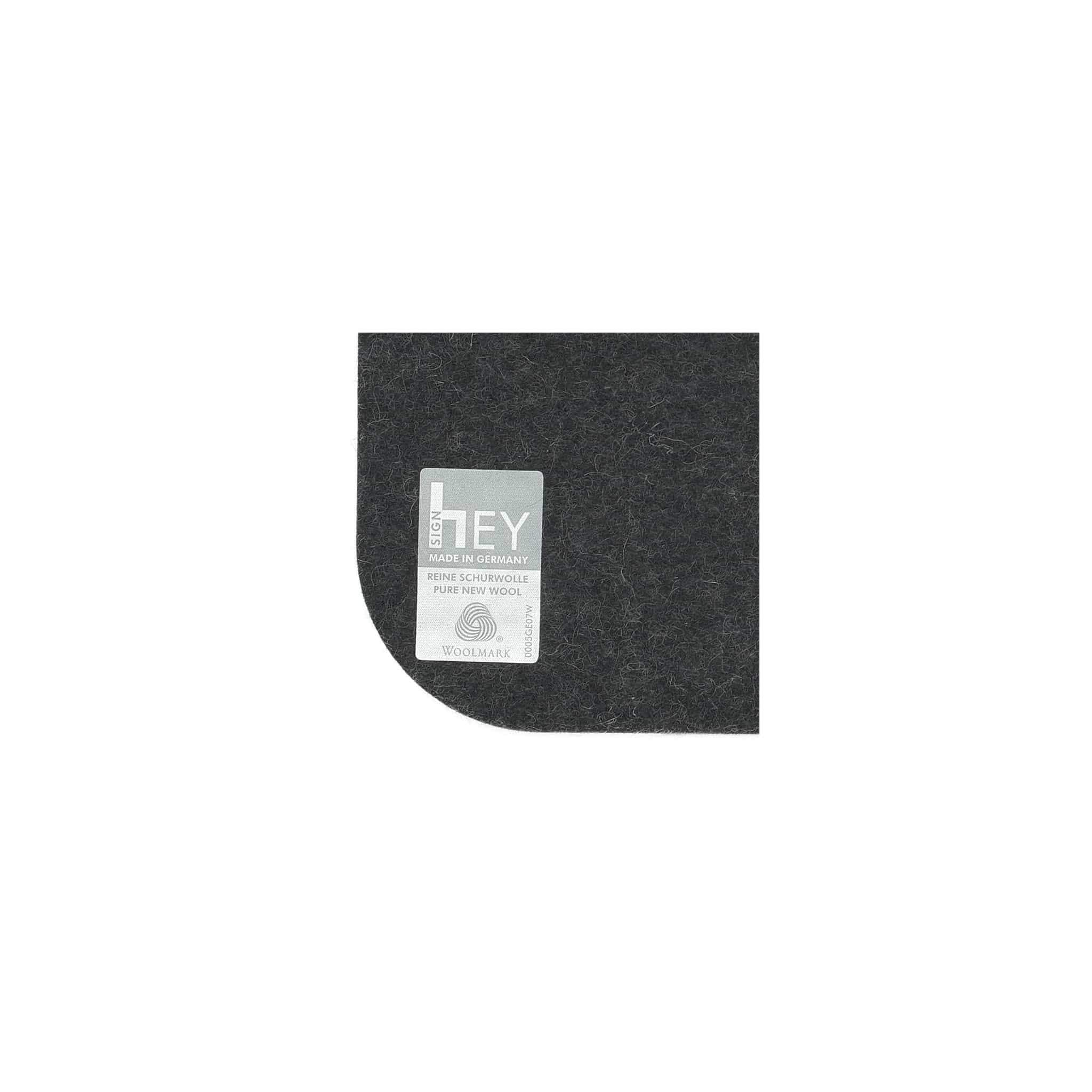 Rectangular Felt Placemat in Graphite by Hey-Sign 300134508 looking at Closeup-Label
