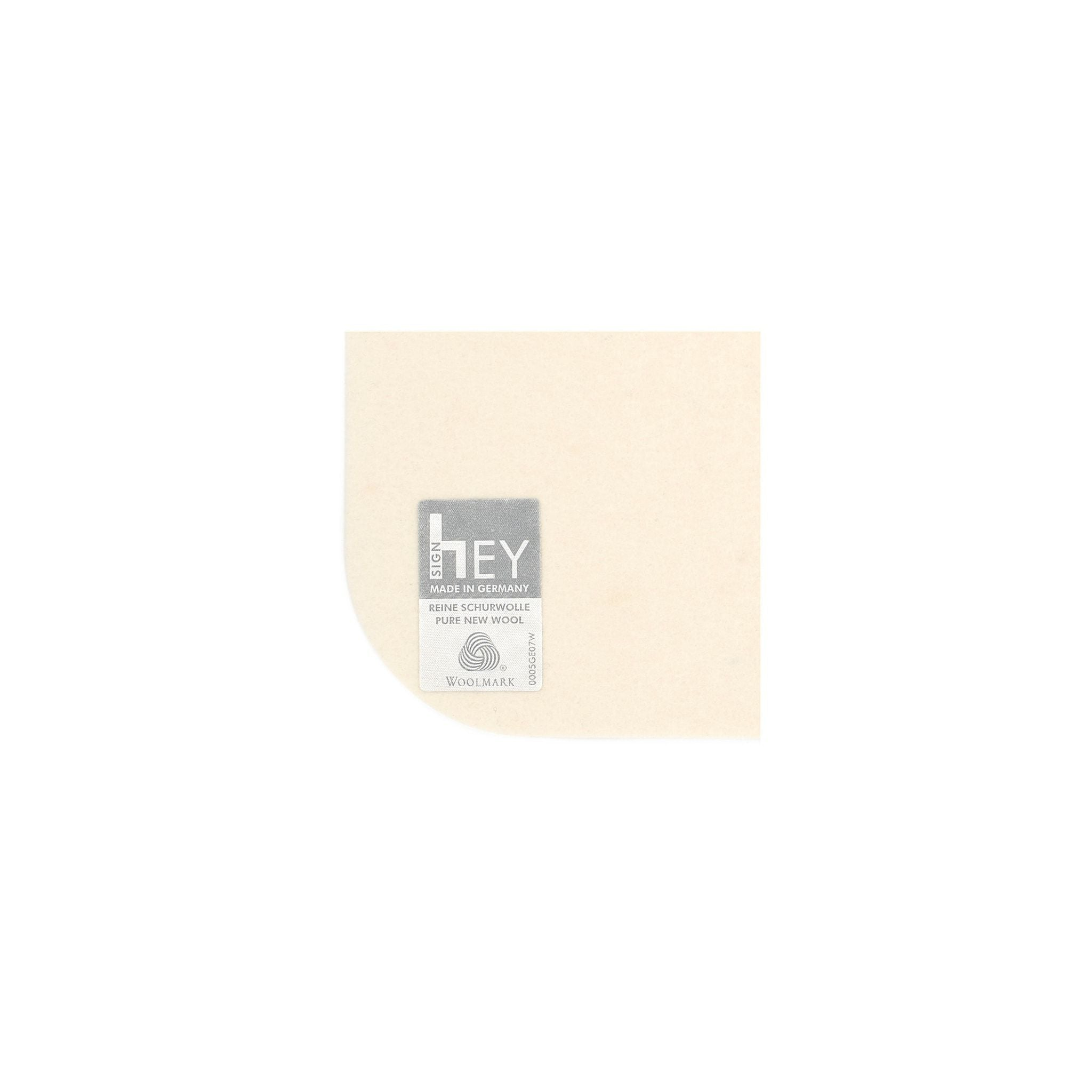 Rectangular Felt Placemat in White by Hey-Sign 300134503 looking at Closeup-Label