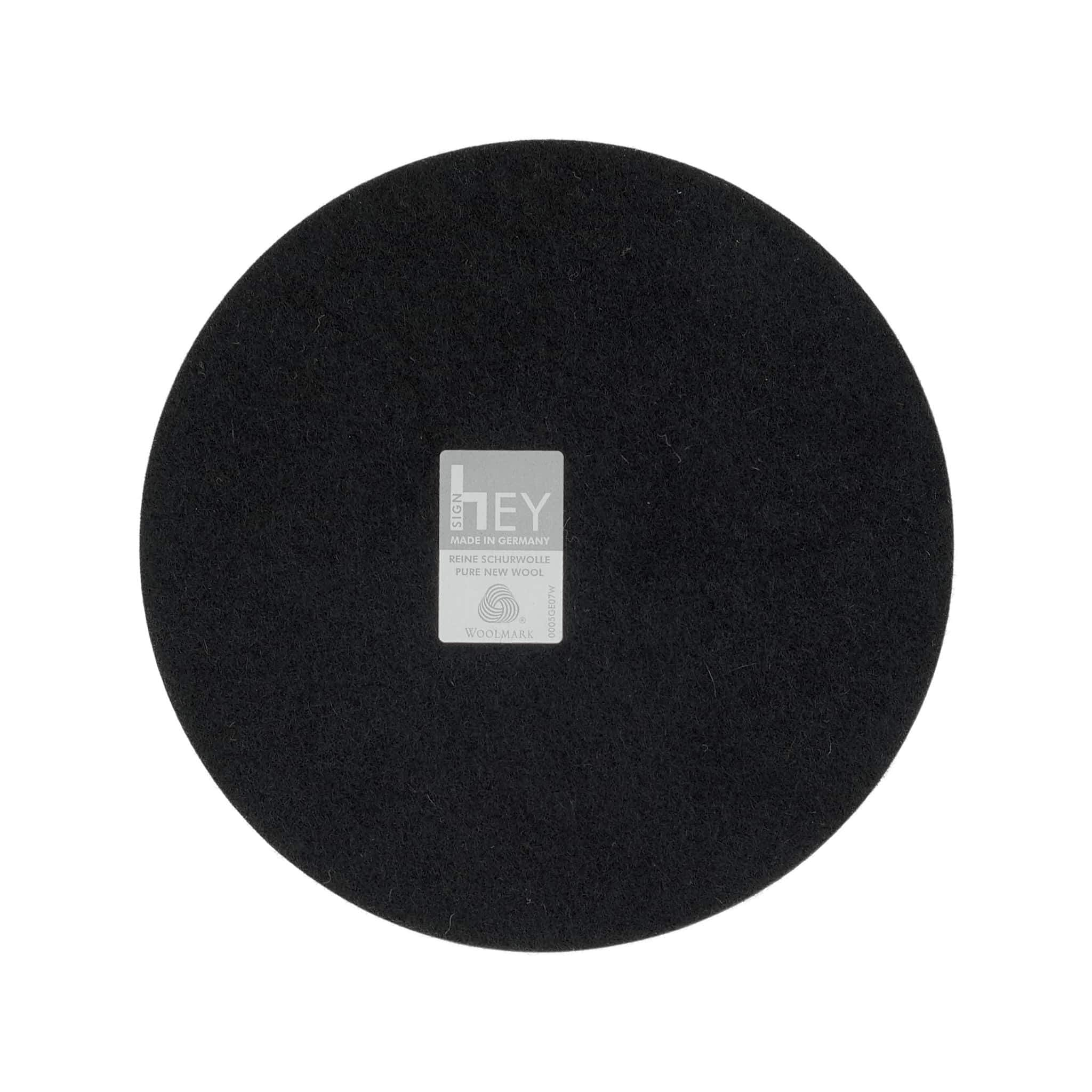 Round Felt Trivet in Black by Hey-Sign 300152002 looking at Back