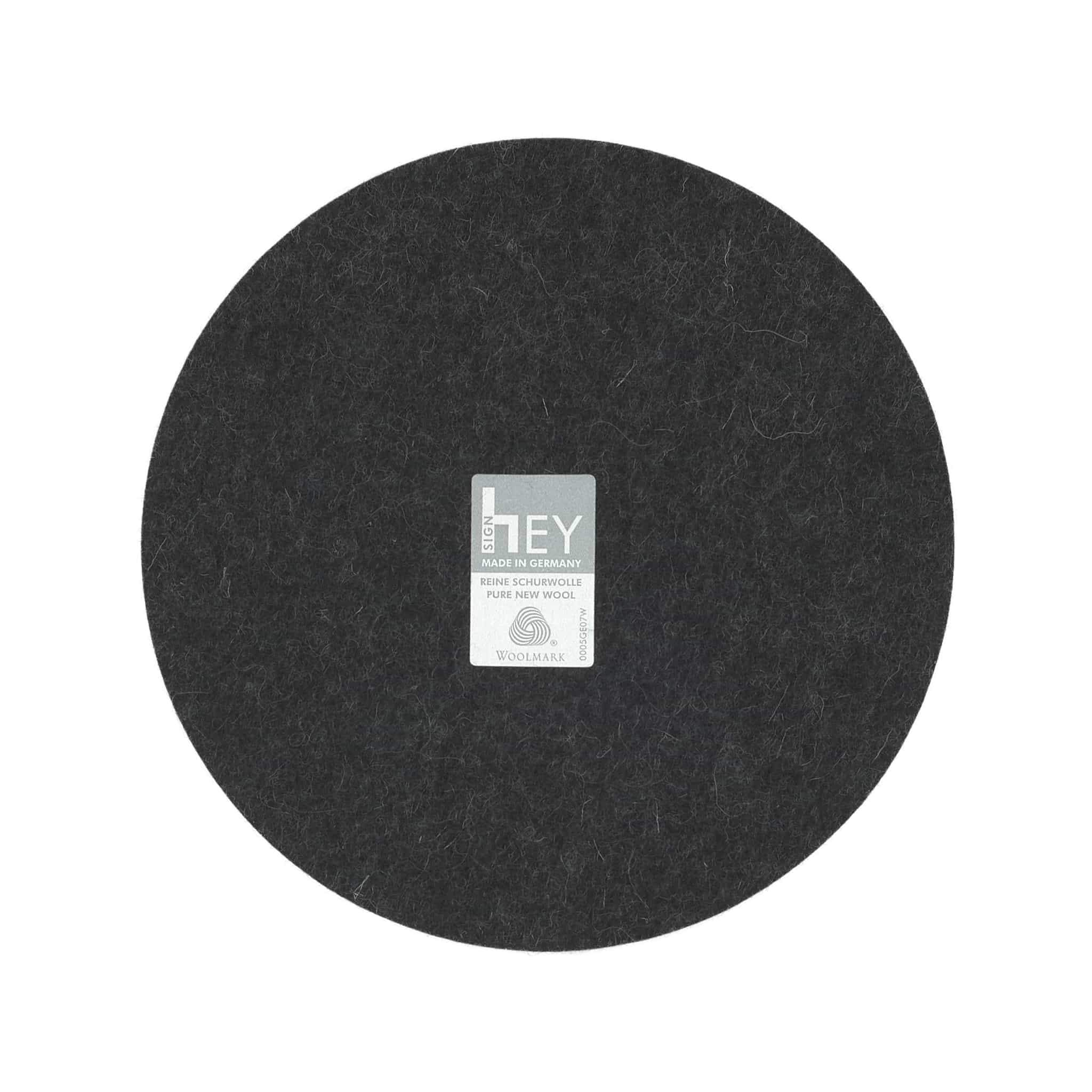 Round Felt Trivet in Graphite by Hey-Sign 300152008 looking at Back