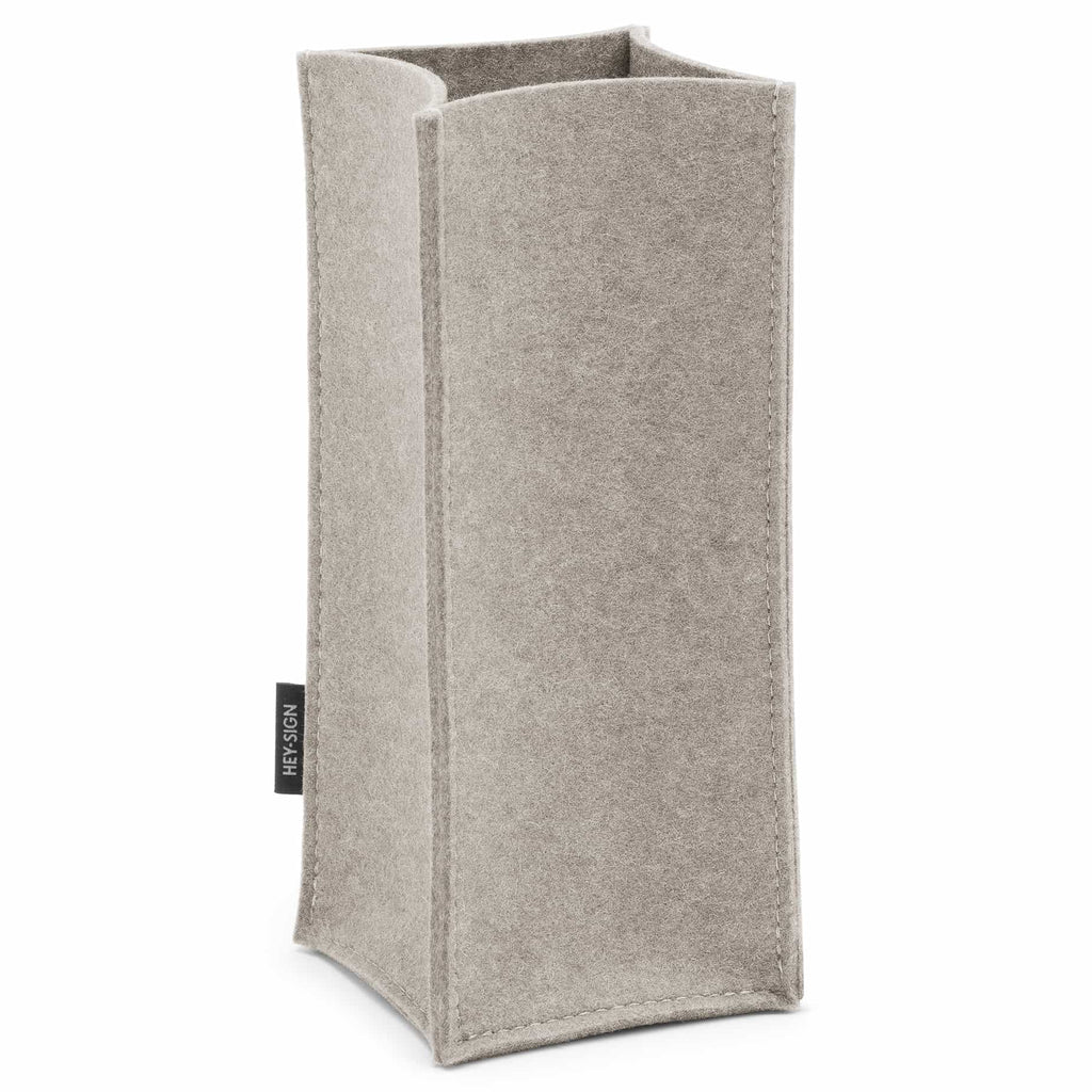 Felt Bottle Cooler in Light Grey by Hey-Sign 320142507 looking at Front-Angle-Wide