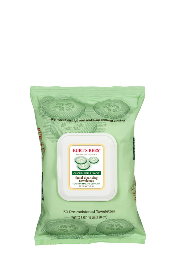 Burt's Bees Cucumber & Sage Facial Cleansing Towelettes (30)