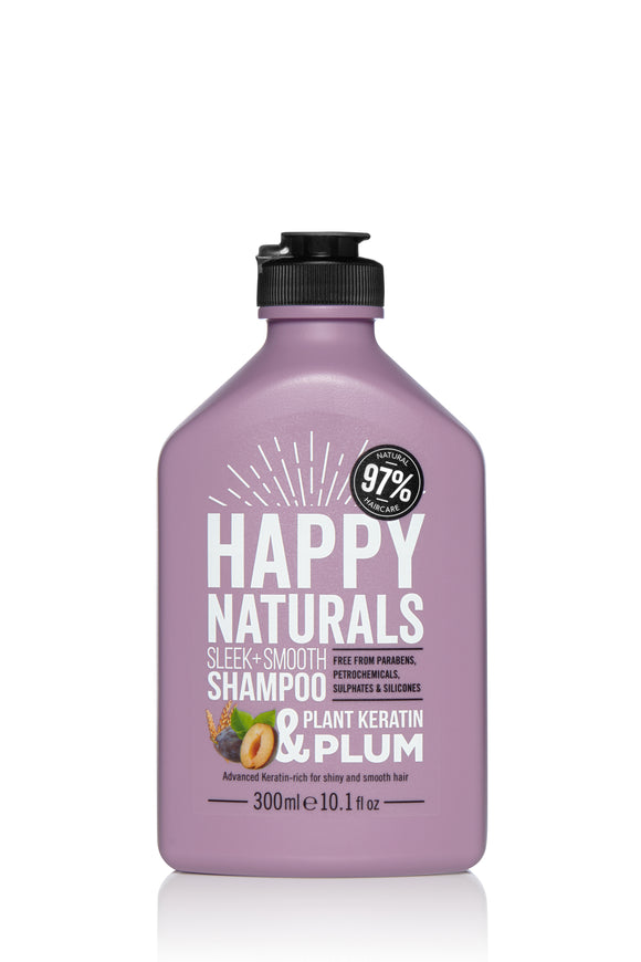 Happy Naturals Sleek + Smooth Keratin & Plum Shampoo 300ml