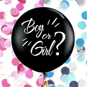 36 inch Black Round Confetti Latex Balloon-gender reveal-Amy&Rose-Boy set-Amy&Rose