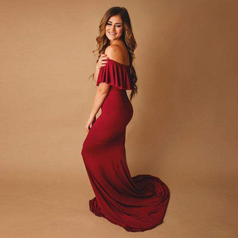 Alice Beautiful Pregnancy Photo Shoot Women Long Dress-Amy&Rose-Deep red-S-Amy&Rose