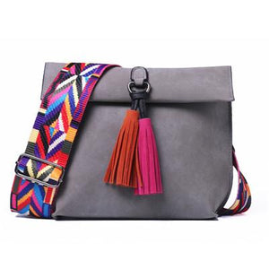 Ariana Crossbody Bag with Tassel-Amy&Rose-Dark Grey-Amy&Rose