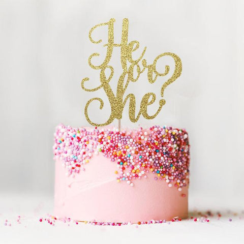 Glitter Cake Topper | 7 colors-gender reveal-Amy&Rose-Gold Glitter-Amy&Rose