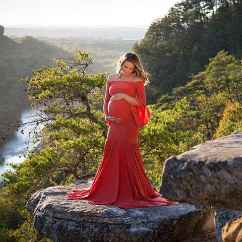 Harmony Cotton Photo Shooting Pregnancy Dress-Amy&Rose-Red-S-Amy&Rose