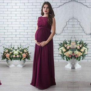 Ruby Lace O-Neck Pregnancy Dress-Amy&Rose-Deep red-S-Amy&Rose