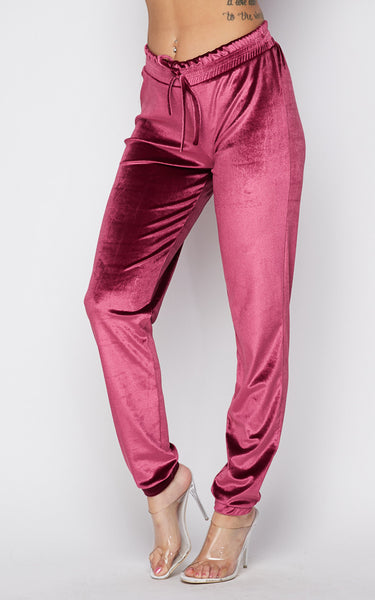 Crushed Velvet Drawstring Joggers