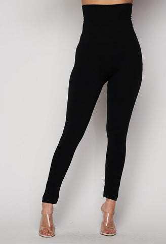 Black High Waisted Tummy Tuck Fleece Lined Leggings