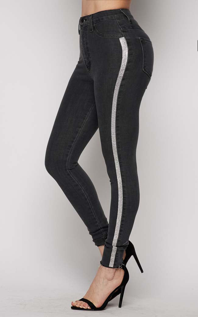 Black Rhinestone Striped Skinny Jeans