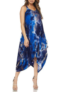 Blue Rocks Womens Blue Sleeveless Tie-Dye Dress