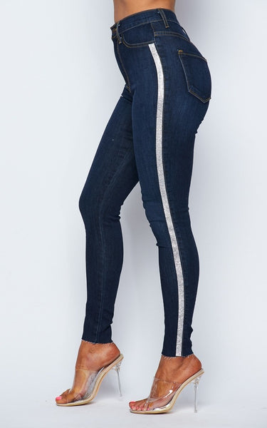 Dark Denim Rhinestone Striped Skinny Jeans