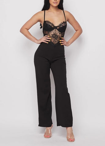 Onyx Floral Laced Wide Leg Jumpsuit